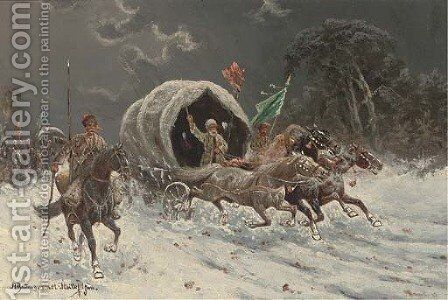 The Siberian gold convoy by Adolf Baumgartner-Stoiloff - Reproduction Oil Painting