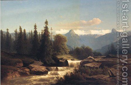 Anglers Fishing In Mountain Rapids by Adolf Chwala - Reproduction Oil Painting
