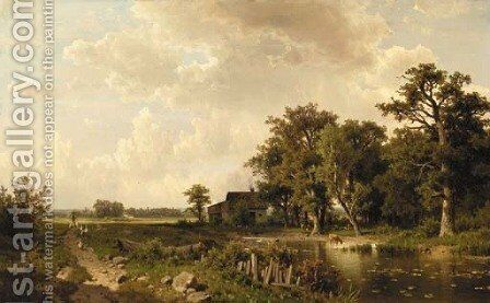 Summer farmstead by Adolf Chwala - Reproduction Oil Painting