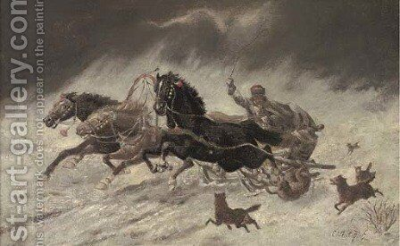Running from the wolves 3 by Adolf Baumgartner-Stoiloff - Reproduction Oil Painting