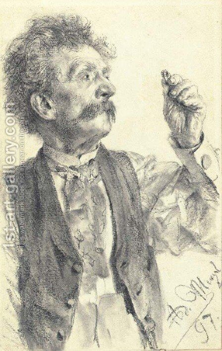 A man holding up a ring, three-quarter-length by Adolph von Menzel - Reproduction Oil Painting