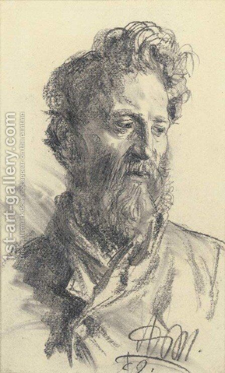 Head of a bearded man looking down to the right by Adolph von Menzel - Reproduction Oil Painting