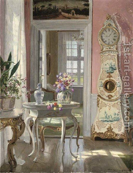 Summer blooms in an interior by Heinrich Hansen - Reproduction Oil Painting