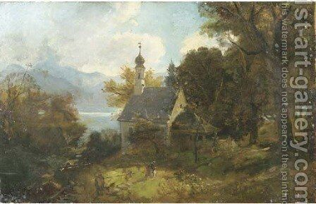 A chapel on a wooded hillside by Adolf Heinrich Lier - Reproduction Oil Painting