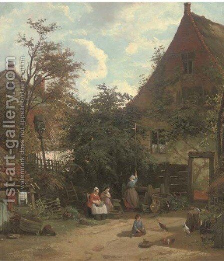 In the farmyard by Adolf Heinrich Lier - Reproduction Oil Painting