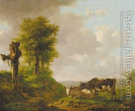 A hilly landscape with a cowherd and his cattle by Adolf Karel Maximilian Engel - Reproduction Oil Painting