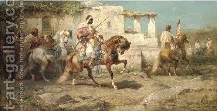 Arabs setting off for battle by Adolf Schreyer - Reproduction Oil Painting