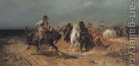 Fording a river by Adolf Schreyer - Reproduction Oil Painting