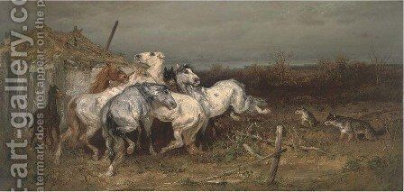 Horses startled by wolves by Adolf Schreyer - Reproduction Oil Painting