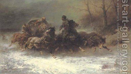Hunted by wolves by Adolf Schreyer - Reproduction Oil Painting