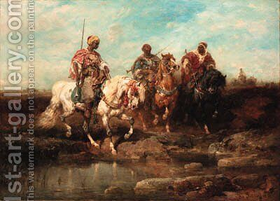 Oriental horseman 2 by Adolf Schreyer - Reproduction Oil Painting
