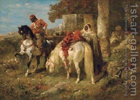 The departure by Adolf Schreyer - Reproduction Oil Painting