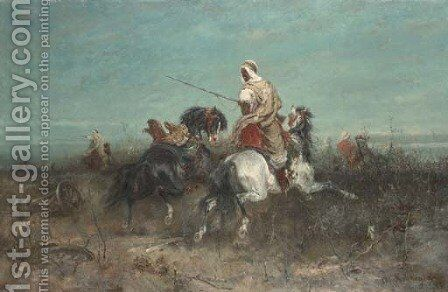 The Retreat by Adolf Schreyer - Reproduction Oil Painting