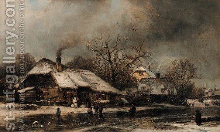 A frozen village in winter by Adolf Stademann - Reproduction Oil Painting