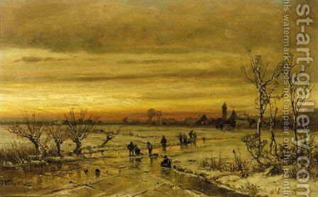 A village in winter at dusk by Adolf Stademann - Reproduction Oil Painting