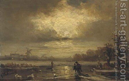 Skaters on a moonlit river by Adolf Stademann - Reproduction Oil Painting