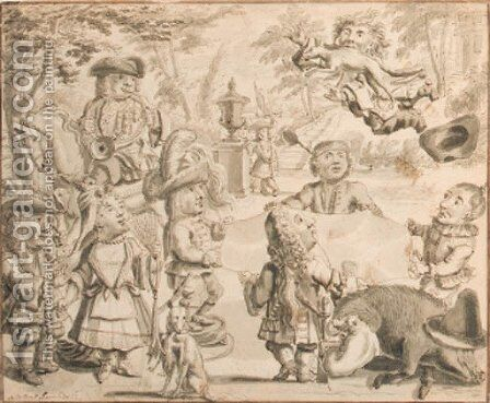 Fox tossing elegant dwarfs playing in a garden on the occasion of a hunting party by Adolf Van Der Laan - Reproduction Oil Painting