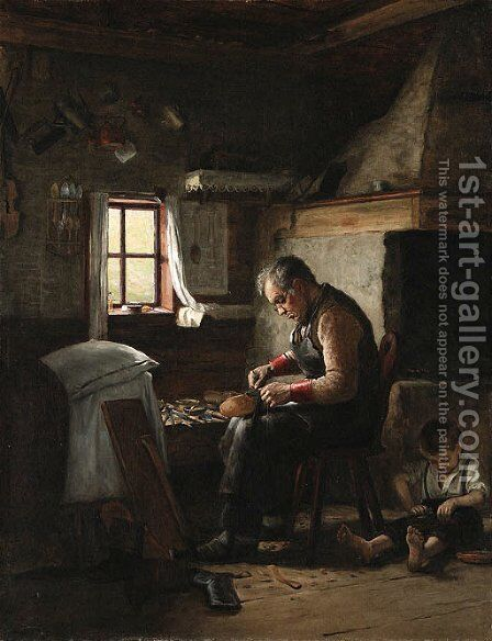 Interior with man and child by Adolf von Becker - Reproduction Oil Painting