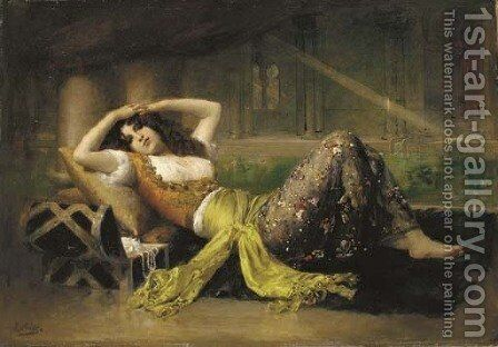 L'odalisque by Adolphe Weisz - Reproduction Oil Painting