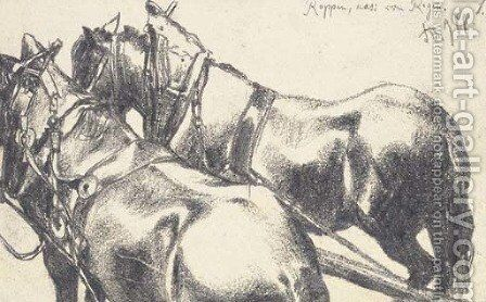Two carthorses in harness, seen from behind by Adolph von Menzel - Reproduction Oil Painting