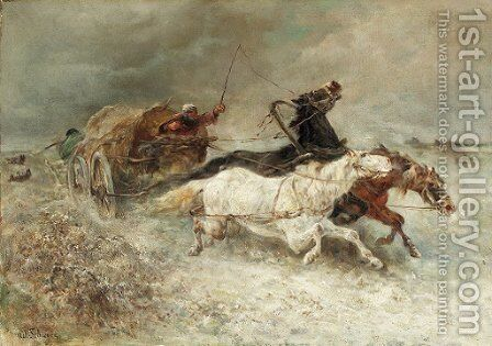 Wallachian wagon under attack by Adolf Schreyer - Reproduction Oil Painting
