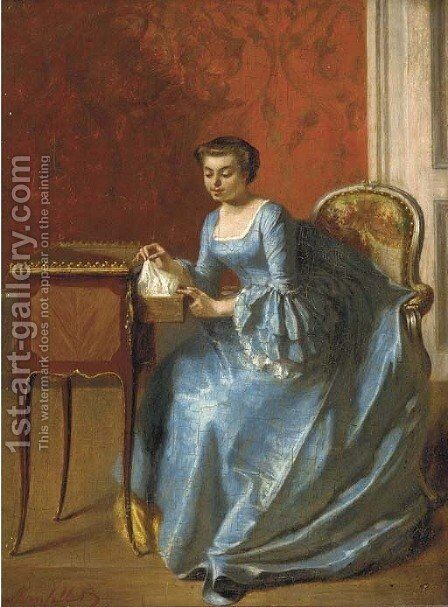 An elegant lady in her boudoir by Adolphe Francois Monfallet - Reproduction Oil Painting
