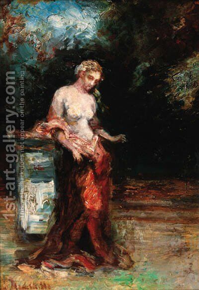 A young beauty in a garden by Adolphe Joseph Thomas Monticelli - Reproduction Oil Painting