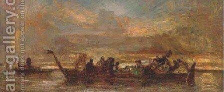 An elegant party on the Venetian Lagoon by Adolphe Joseph Thomas Monticelli - Reproduction Oil Painting