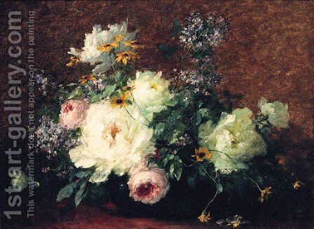 Roses And Lilacs In A Vase by Adolphe Louis Castex-Degrange - Reproduction Oil Painting