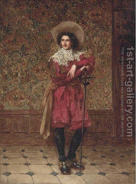 The cavalier by Adolphe-Alexandre Lesrel - Reproduction Oil Painting