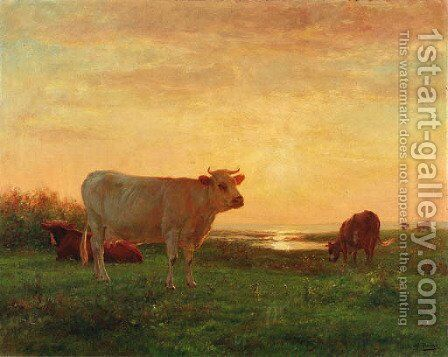 Dusk over the pasture by Adolphe Charles Marais - Reproduction Oil Painting