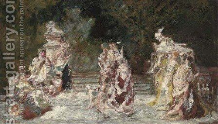 Fate dans un Parc by Adolphe Joseph Thomas Monticelli - Reproduction Oil Painting