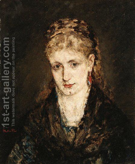 Woman in black by Adolphe Joseph Thomas Monticelli - Reproduction Oil Painting