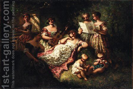 The music party by Adolphe Joseph Thomas Monticelli - Reproduction Oil Painting