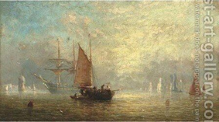 Fishermen unloading at dusk, with a frigate at anchor beyond by Adolphus Knell - Reproduction Oil Painting