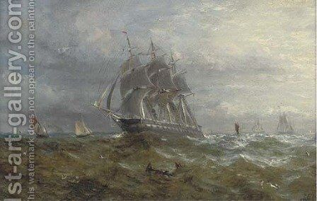 Running down Channel at dusk by Adolphus Knell - Reproduction Oil Painting