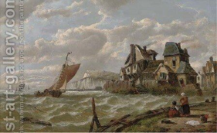 Running down the Channel at dusk by Adolphus Knell - Reproduction Oil Painting