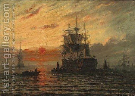 The flagship at dusk by Adolphus Knell - Reproduction Oil Painting