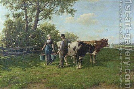 A country romance by Adriaan Marinus Geijp - Reproduction Oil Painting
