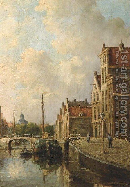 Canal in a Dutch town by Adriaan Marinus Geyp - Reproduction Oil Painting