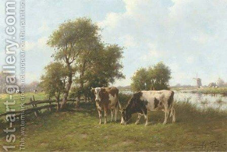 Cattle grazing by a river in summer by Adriaan Marinus Geyp - Reproduction Oil Painting