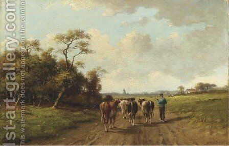 Leading the cattle to the pasture by Adriaan Marinus Geyp - Reproduction Oil Painting