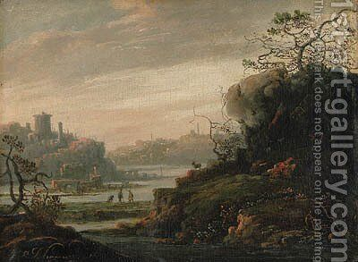 An extensive River Landscape by Adriaen Bloemaert - Reproduction Oil Painting