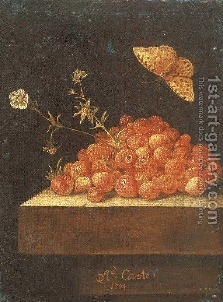 Stawberries in a pot on a stone ledge with a butterfly by Adriaen Coorte - Reproduction Oil Painting