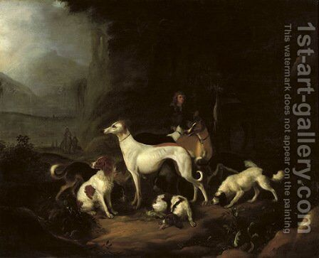 A hunter and his dogs resting at the entrance of a cave by Adriaen Cornelisz. Beeldemaker - Reproduction Oil Painting
