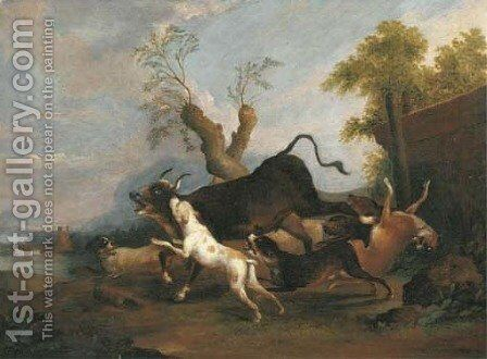 A pastoral river landscape with hounds chasing a bull by Adriaen Cornelisz. Beeldemaker - Reproduction Oil Painting