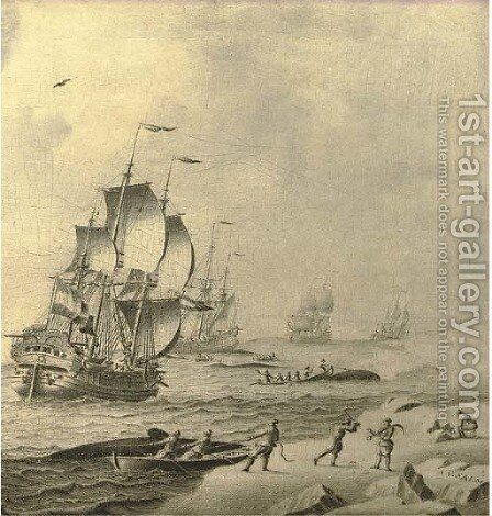 Whaling ships in rough waters with whale hunters bringing in their catch by Adriaen Cornelisz. Van Salm - Reproduction Oil Painting