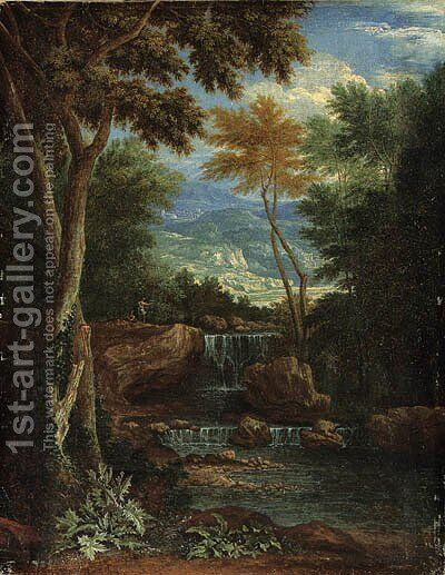 An Italianate wooded Landscape with Figures by a Waterfall by Adriaen Frans Boudewijns - Reproduction Oil Painting