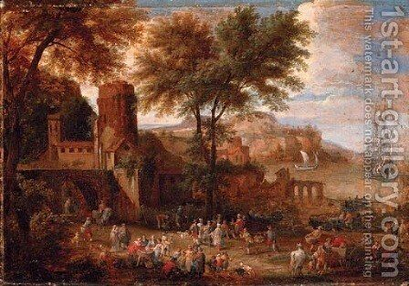 Figures outside a town wall with a bay beyond by Adriaen Frans Boudewijns - Reproduction Oil Painting