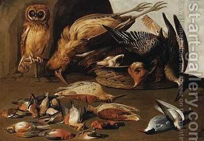 An owl on a perch with dead birds by Adriaen Geurtsz. Boogaert - Reproduction Oil Painting
